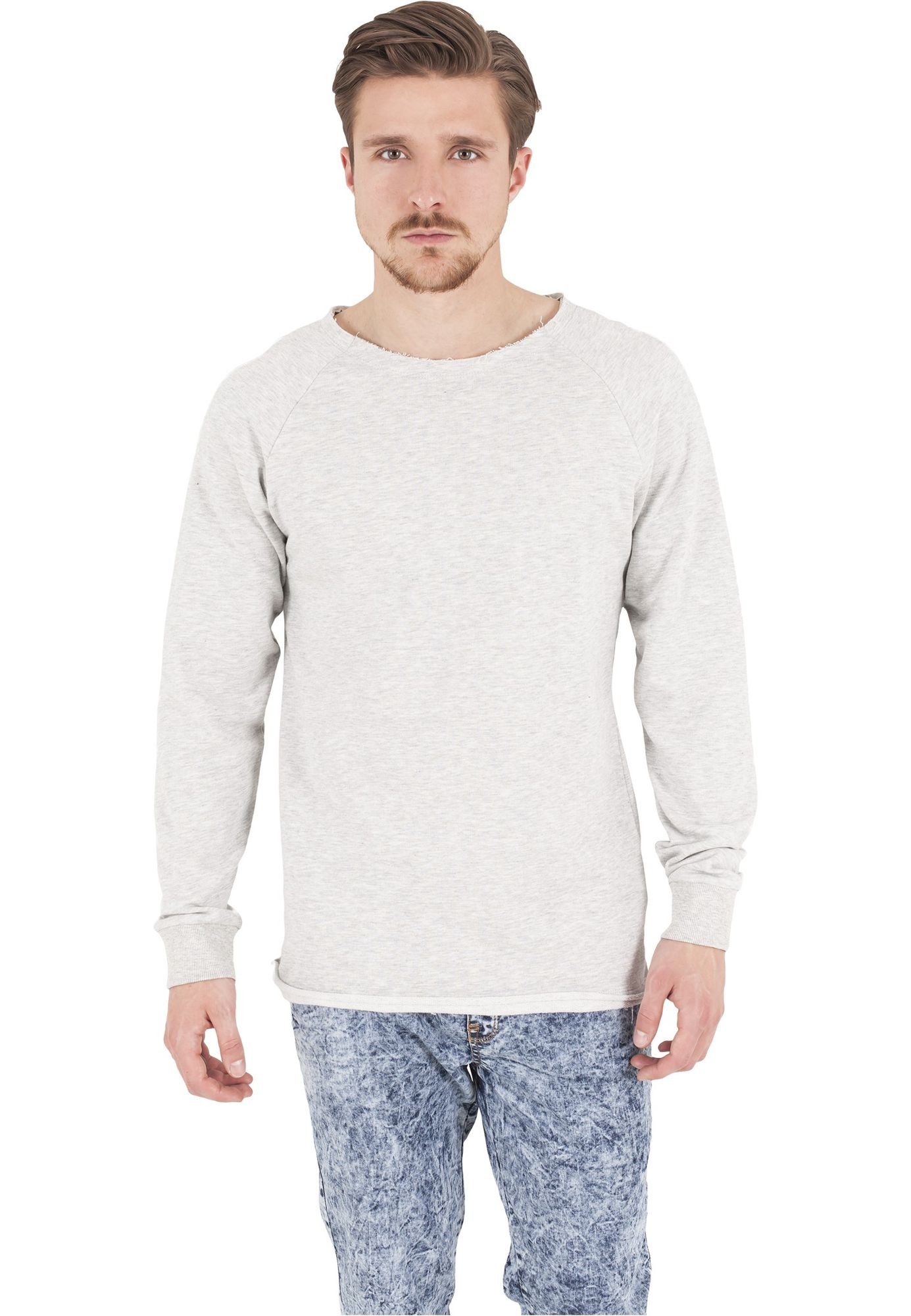 Urban Classics Herren Long Open Edge Terry Crewneck Langarmshirt TB1012