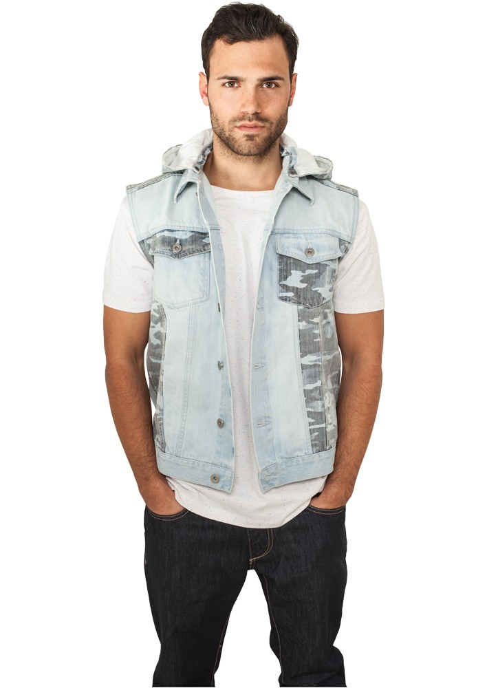 Urban Classics Hooded Camo Denim Vest TB667