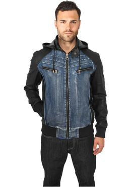Urban Classics Hooded Denim Leather Jacket TB675