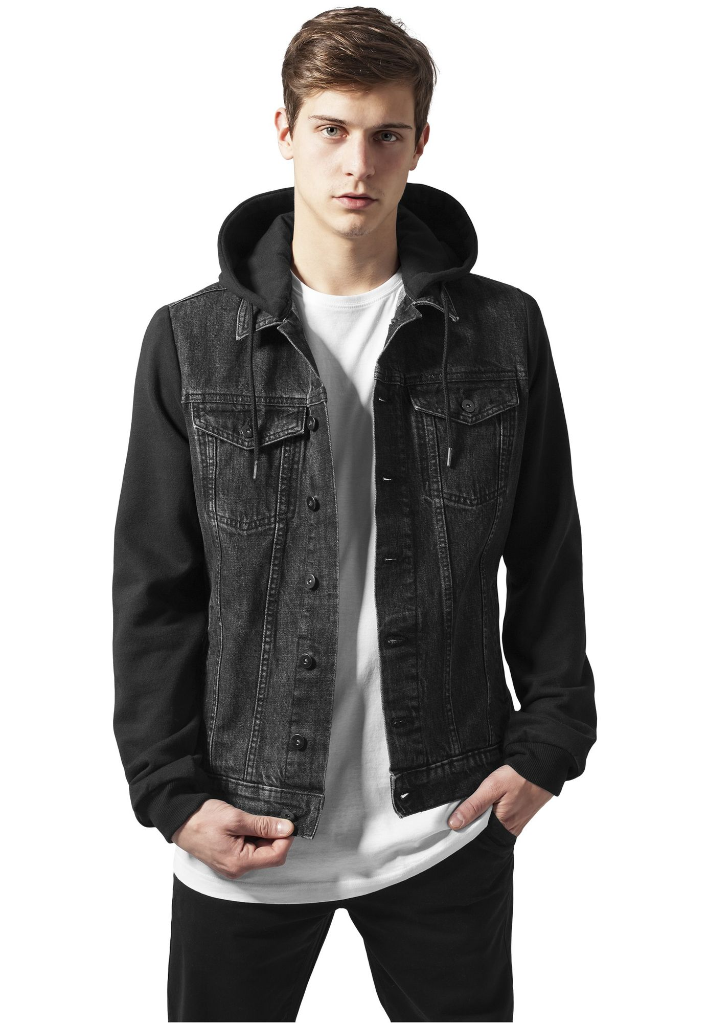 Urban Classics Herren Hooded Denim Fleece Jacke TB669