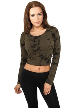 Urban Classics Damen Cropped Acid Wash L/S TB774