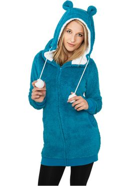 Urban Classics Damen Long Teddy Zip Hoody TB394