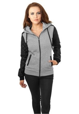 Urban Classics Damen Diamond Leather Imitation ärmel Zip Hoody TB785