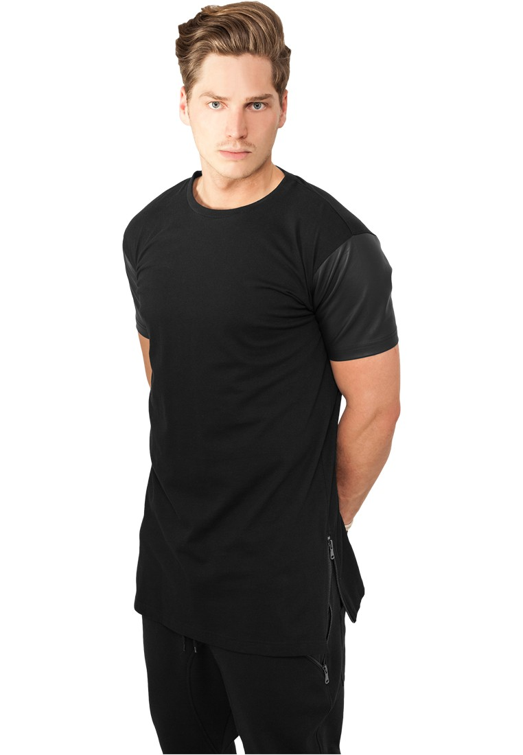 Urban Classics Long Zipped Leather Imitation ärmel Tee TB820